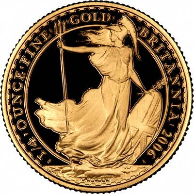 Reverse of 2006 Quarter Ounce Gold Britannia Proof