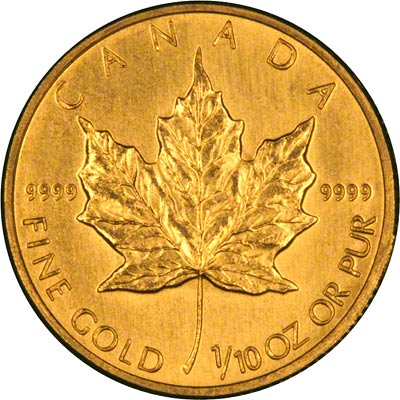 Reverse of 2006 Canadian Tenth Ounce Gold Maple Leaf