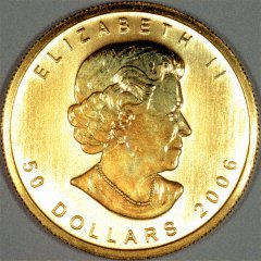 Obverse of 2006 Canadian One Ounce Gold Maple Leaf