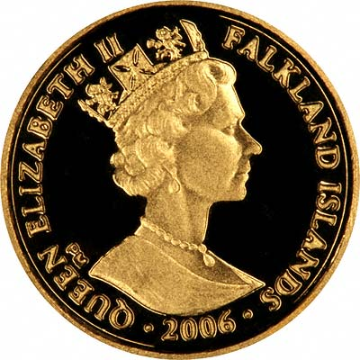 Obverse of 2006 Falklands Gold Proof Quarter Crown