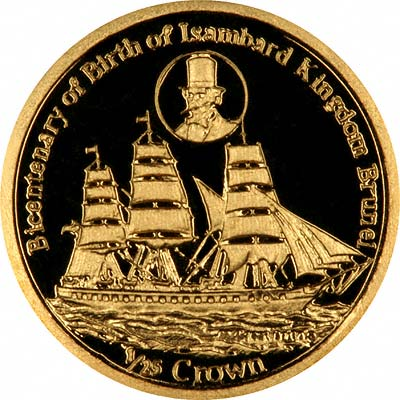 Bicentenary of Birth of Isambard Kingdom Brunel on Reverse of 2006 Falklands Gold Proof 1/25th Crown