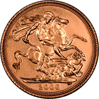 Reverse on the 2006 Uncirculated Half Sovereign