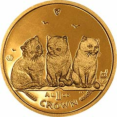 Reverse of One Ounce Manx Cat Crown