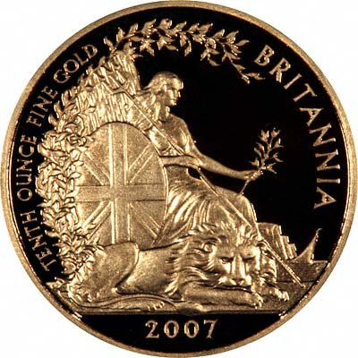 Reverse of 2007 Tenth Ounce Gold Britannia Proof