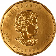 Obverse of Gold Canadian Maple Leaf