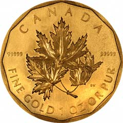 Reverse of Gold Canadian Maple Leaf