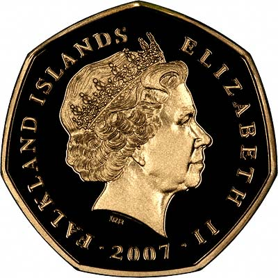Obverse of 2007 Falklands Gold Proof Fifty Pence