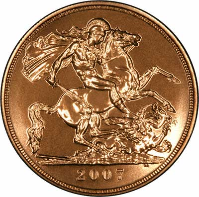 Reverse of 2007 Brilliant Uncirculated Five Pounds Gold Coin