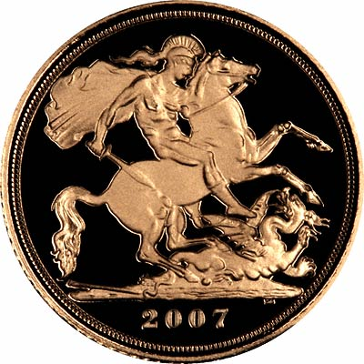 St George Reverse on the 2007 Proof Half Sovereign