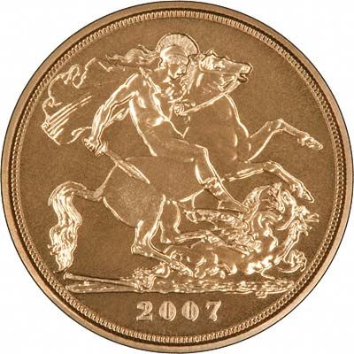 Reverse of 2007 Uncirculated Half Sovereign