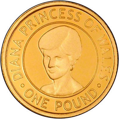 Reverse of 2007 Jersey Princess Diana One Pound Gold Proof