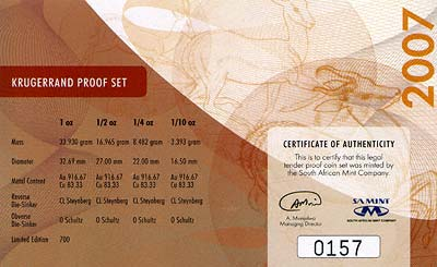 2007 South African Proof Krugerrand 4 Coin Set Certificate