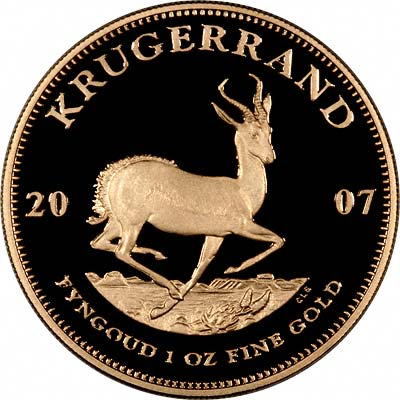 Reverse of 2007 South African 1oz Proof Krugerrand