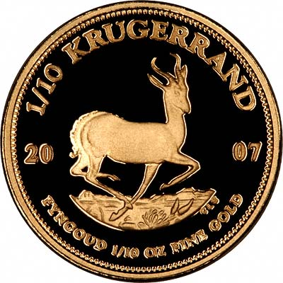 Reverse of 2007 Tenth Ounce Krugerrand