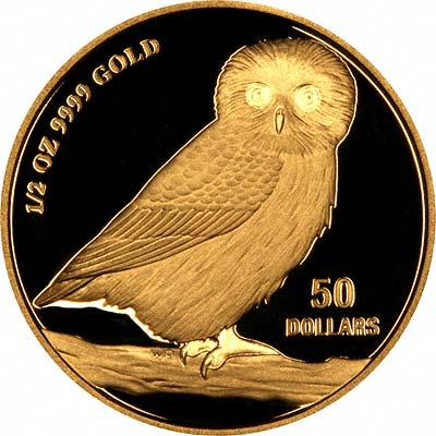 Reverse of 2007 Tuvalu Half Ounce Gold Owl