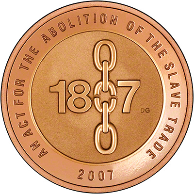 Reverse of 2007 Abolition of Slave Trade Gold Proof Two Pound Coin