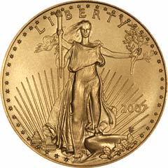 Obverse of One Ounce Gold American Eagle