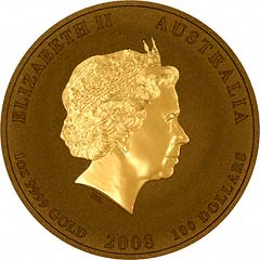 Obverse of 2008 One Ounce Gold Australian Lunar Coin