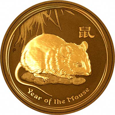 Reverse of a 2008 Australian Year of the Rat or Mouse Gold Bullion Coin