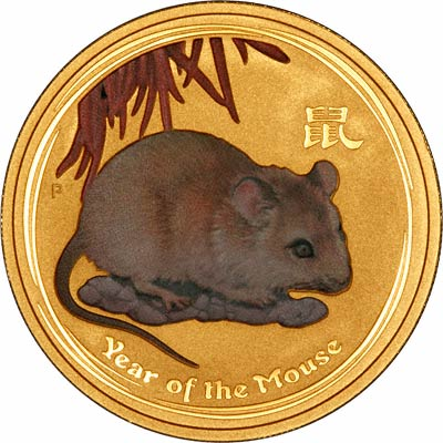 Reverse of 2008 Australian Year of the Rat or Mouse Coloured One Ounce Gold Bullion Coin