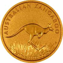 Reverse Design of a Year 2008 Australian Tenth Ounce Gold Kangaroo Nugget Coin