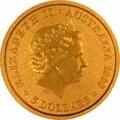Reverse Design of a Year 2000 Australian Twentieth Ounce Gold Kangaroo Nugget Coin