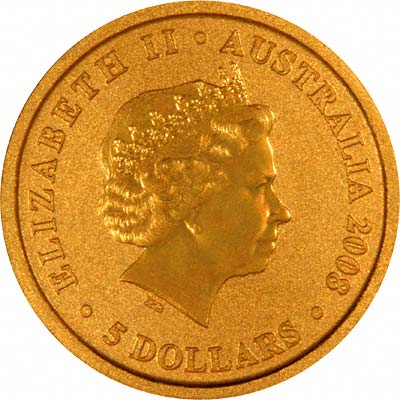 Obverse of Year 2008 Twentieth Ounce Gold Nugget