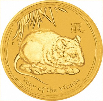 2008 One Ounce Gold Rat or Mouse Coin