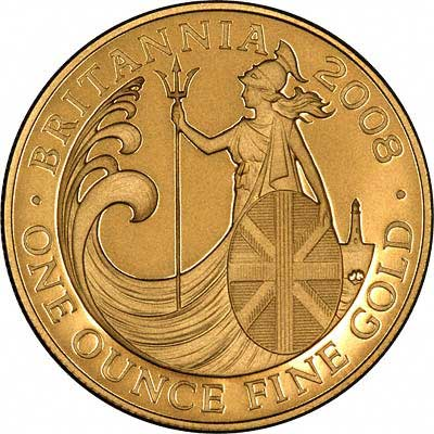 Reverse of One Ounce Britannia - One Hundred Pounds
