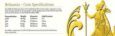 2008 Britannia 4 Coin Gold Proof Collection Specification
