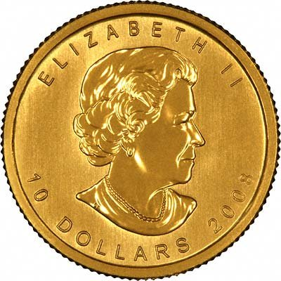 Obverse of 2008 Canadian Quarter Ounce Gold Maple Leaf