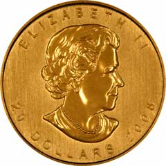 Obverse of One Ounce Gold Canadian Maple Leaf