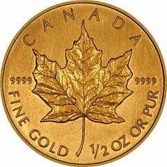 Reverse of One Ounce Gold Canadian Maple Leaf