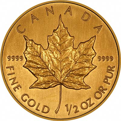 Reverse of Half Ounce Gold Maple
