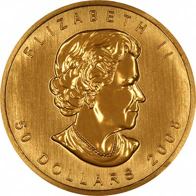 Our 2008 One Ounce Canadian Gold Maple Leaf Coin Obverse Photo