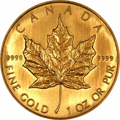 Reverse of 2008 Canadian One Ounce Gold Maple Leaf Coin