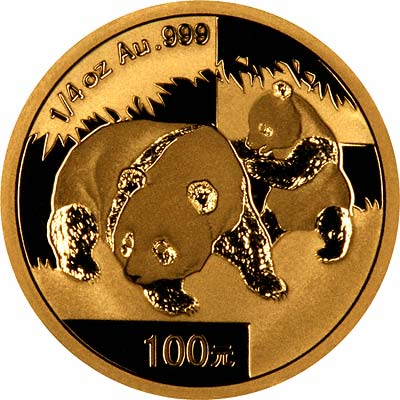 Reverse Design of a 2008 Chinese Quarter Ounce Gold Panda