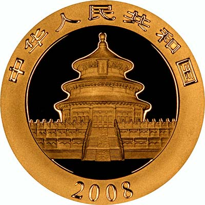 Obverse Design of a Year 2001 Chinese One Ounce Gold Panda Coin