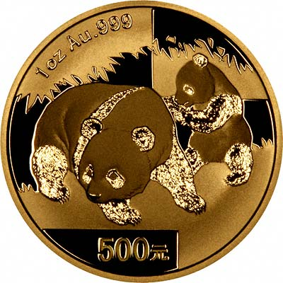 Reverse Design of a Year 2001 Chinese One Ounce Gold Kangaroo Panda Coin