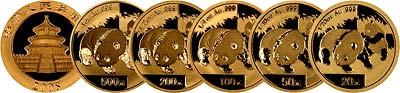 All Five sizes of 2008 Chinese One Ounce Gold Panda Coins