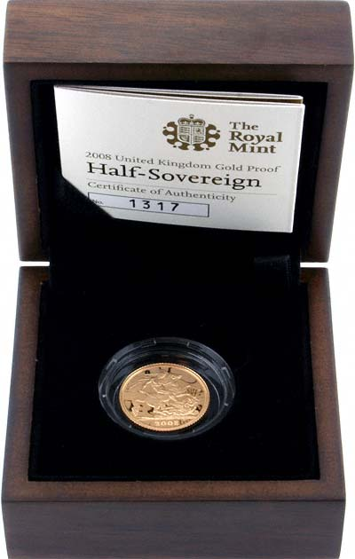 2008 Proof Half Sovereign in Presentation Box