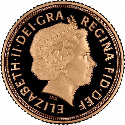 Obverse of 2008 Proof Half Sovereign