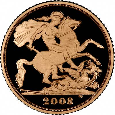 St George Reverse on the 2008 Proof Half Sovereign