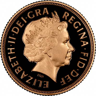 Obverse of 2008 Gold Proof Sovereign