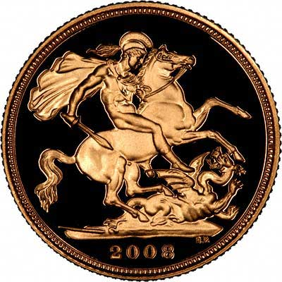 Reverse of 2008 Gold Proof Sovereign