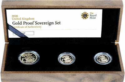 2008 Three Coin Gold Proof Set in Case