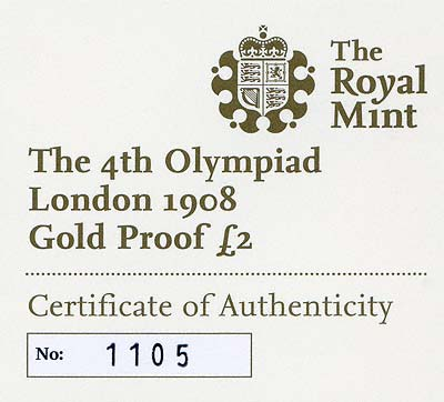 Obverse of 2008 London 1908 Olympics Gold Proof Two Pounds