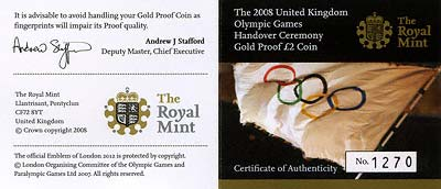 2008 Olympic Games Handover Ceremony Two Pound Certificate