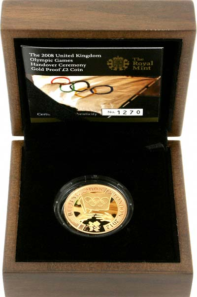 2008 Olympic Games Handover Ceremony Two Pound Coin in Box