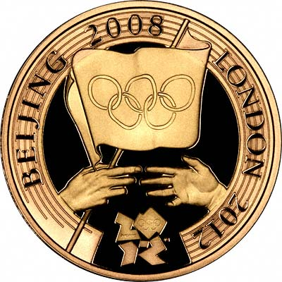 Reverse of 2008 Olympic Games Handover Ceremony Gold Proof Two Pound